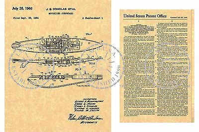 US PATENT for a MOTORIZED SURFBOARD Surfing Sled Art Print Issued in 1966 PM#905