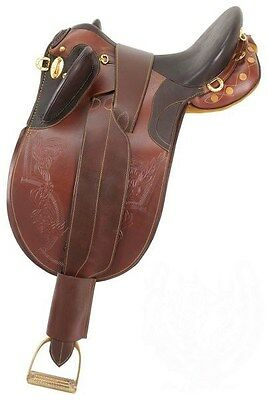 17 Inch Australian Stockpoly Saddle - Dark Oil Leather - No Horn - Regular Tree