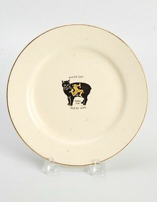 Vintage China Plate Manx Cat From The Isle Of Man Crown Devon Fielding