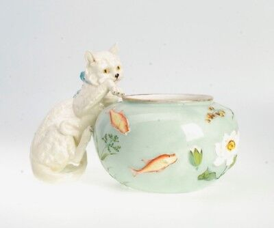 Antique Porcelain Planter Fish Bowl Form W/ A Cat For T. Goode By Moore Bros.