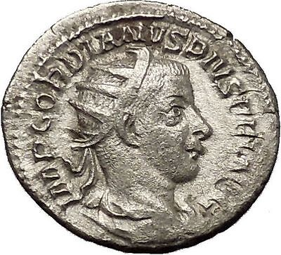 Gordian III 241AD Silver Authentic  Ancient Roman Coin Zeus Jupiter Cult i53193