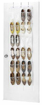 Whitmor 6044-13-CTF White Crystal Collection Over-The-Door Shoe Organizer Rack