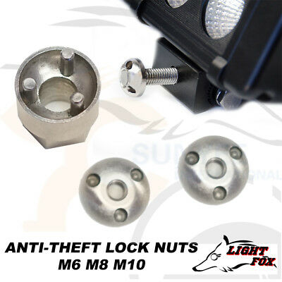 Anti Theft Lock Nuts M6 M8 M10 Security LED Bar Work Driving Light 6mm 8mm 10mm