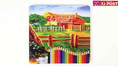 Colour Pencils 24 Assorted Colors With Tin Case Student Drawing Color Pencil YW