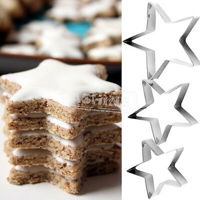 3PCS Stars Biscuit Cookie Pastry Fondant Molds Moulds Cutters Cake Decorating UK