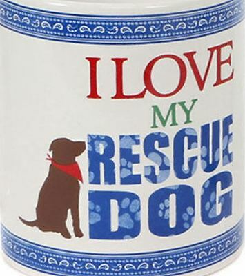 I Love My Rescue Dog Puppy Large Pet Coffee Mug Cup New