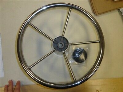 "Destroyer Stainless Steel 5 Spoke Steering Wheel W / Hub 13 1/4"" Marine Boat"