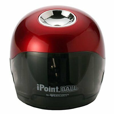 Westcott iPoint Ball Battery Powered Office Pencil Sharpener, Red/Black (15570)