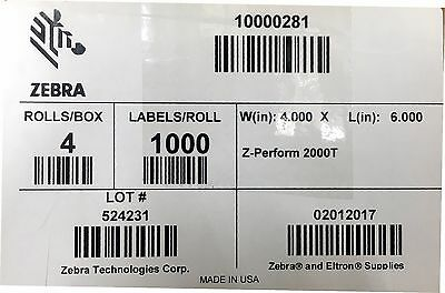 "Zebra 10000281 4""x6""  Thermal Transfer 2000T Perm Adhesive 1000/Roll 4 Rolls"