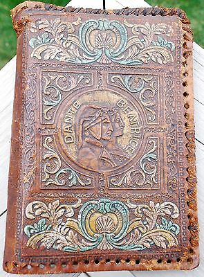 Antique Italian Hand Tooled Leather Book Cover Made in Italy - Dante & Beatrice