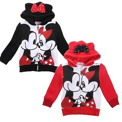 Mickey Minnie Mouse Ear Fleece Sweatshirt Hoodie Kid Girl Jacket Clothes Costume
