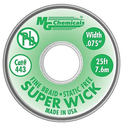 MG Chemicals 400 Series #3 Fine Braid Super Wick with RMA Flux 25-Feet Length...
