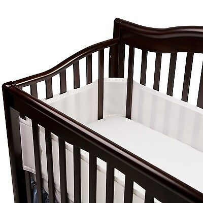 Breathable Baby 12111 Safer Bumper Fits All Cribs (White) White