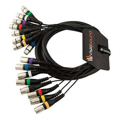 8-Way 3m Male XLR to Female XLR Balanced Loom / Effects Patch / Multicore Cable