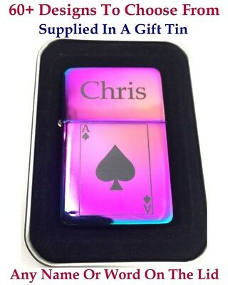 Personalised Engraved lighter, Rainbow Polished + Gift Tin.72 Design choices.