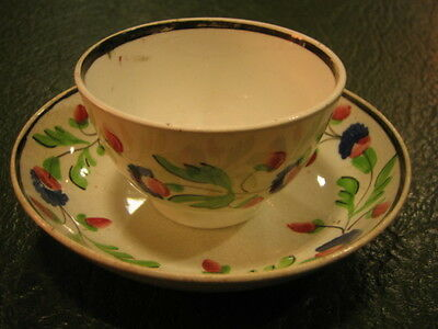 19th century hand painted English porcelain tea bowl & saucer