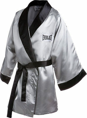 New Everlast Boxing Satin Robe 3/4 Fingertip Length Size: X-Large Color: Silver