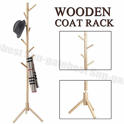 9 Hooks 4 Colors Coat Hat Bag Clothes Rack Stand Tree Style Hanger Wooden Stand