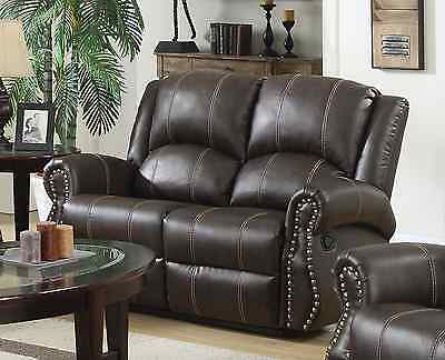 New Salisbury 2 Seater Bonded Leather Home Lounge Recliner Sofa - Brown