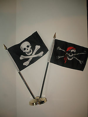 """JR Red Hat Death Zone /& No Patch Pirate 3 Flags 4/""""x6/"""" Desk Set Gold Base"""