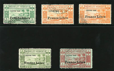 New Hebrides French 1941 KGVI Due set complete VF used. SG FD77-81. Sc J11-15.