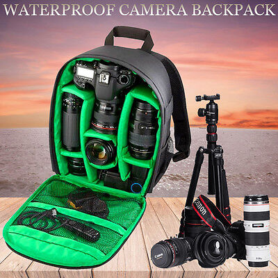 New Waterproof DSLR Camera Lens Backpack Case Bag For Nikon Canon Sony
