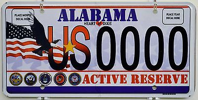 Alabama Military ACTIVE RESERVE Sample License Plate Tag