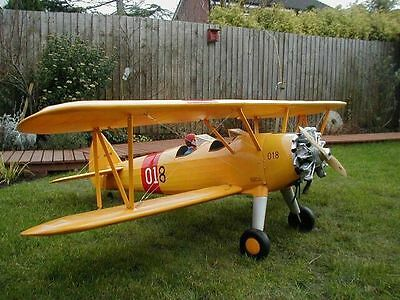 Giant 1/5 Scale STEARMAN PT-17 scratch build R/c Plane Plans 77 in. wingspan