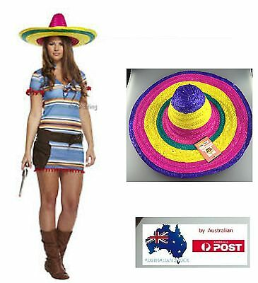 Mexican Poncho Sombrero Rainbow Hat Wild West Cowboy Bandit Fancy Party Costume
