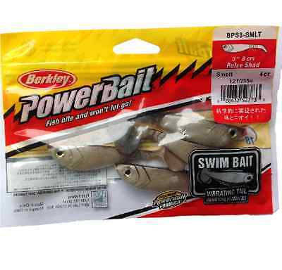 "Berkley Powerbait 3"" 8cm PULSE SHAD Soft Plastic Fishing Lures SMELT Cod Lures"