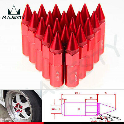 M12X1.5 Spiked Lug Nuts Extended Tuner 60mm Wheels / Rims Aluminum 20pcs Red