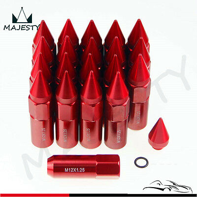20pcs Spiked Extended Tuner 60mm Lug Nuts Wheels / Rims M12X1.25 Aluminum Red