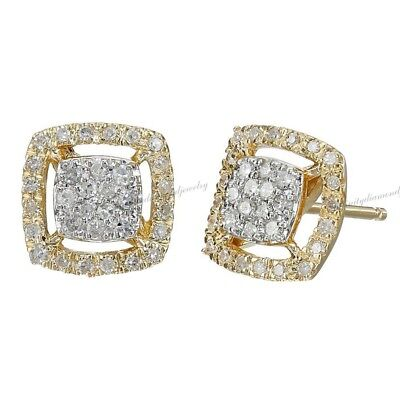 Square 1/4 ct Natural Diamond Cluster Stud Earrings In Solid 14k Yellow Gold