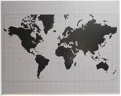 (LAMINATED) World MAP POSTER (40x50cm) Black & Silver New Licensed Art