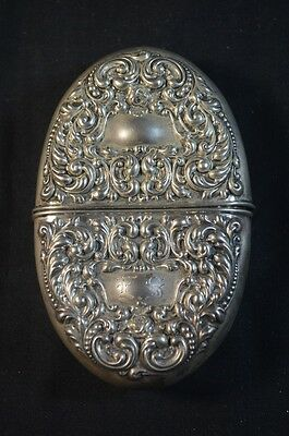 Antique Sterling Silver Repousse Flask 2.6 OZT