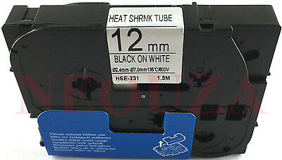 compatible Brother HSE231 Shrink Tube Black on White Fit PTE300 PT-E500 PT-E550W
