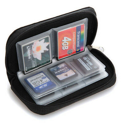 Black 22 Slots SD XD MS Card Carrying Storage Pouch Box Case Holder Wallet Bag