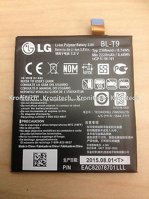 New OEM LG BL-T9 BLT9 2300mah Battery 3.8V 8.74Wh FOR Google Nexus 5 D820 D821
