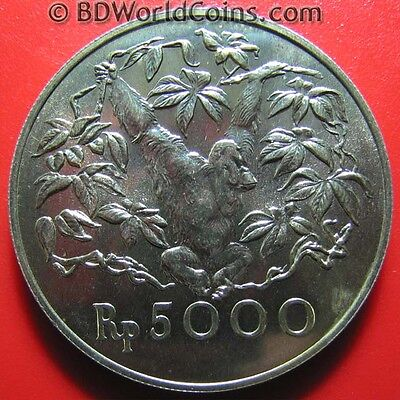 INDONESIA 1974 5000 RUPIAH SILVER ORANGUTAN WILDLIFE MONKEY CONSERVATION 42mm