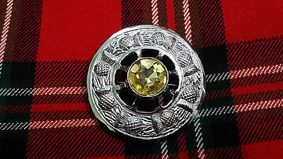 """TC Celtic Fly Plaid Brooch Chrome Finish Yellow Stone 3""""/Thistle Brooches Pin"""