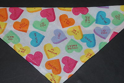 Dog Bandana, OVER THE COLLAR,clothes, pet, Size S,M,L,XL, Candy Hearts!