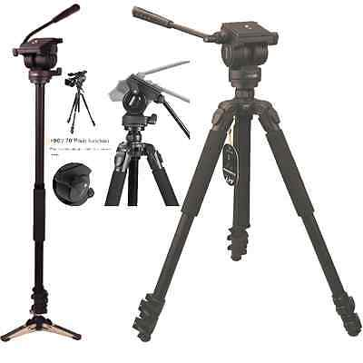 Professional Heavy Duty Video Camera Photo Tripod Monopod with Fluid Drag Head
