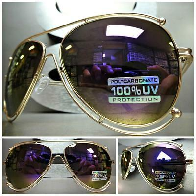 CLASSIC VINTAGE RETRO Style SUNGLASSES SHADES Matte Gold Wire Frame Mirror Lens