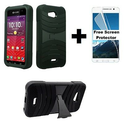 Kyocera Hydro Wave C6740 Rugged Phone Cover Case + Screen Protector - Black
