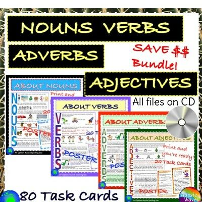 Educational Teach English NOUNS VERBS ADJECTIVES ADVERBS POSTERS Task Cards