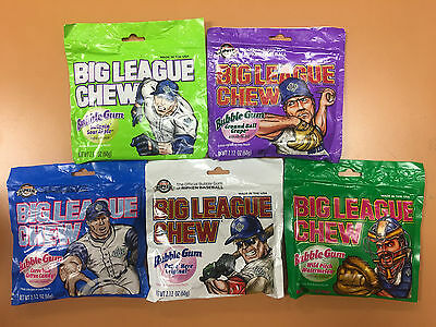 FIVE Packs Big League Chew Gum Sampler - Every Flavor That's Currently Available