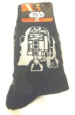 Kid's Star Wars Pair of Black with gray stripes and R2D2 Socks Size 10-13-New!