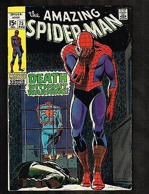 "Amazing Spider-Man #75 ~""Death Without Warning!"" ~ 1969 (6.5) WH"