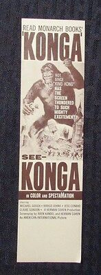 "1960's See KONGA Monarch Books 2.25x8.5"" Bookmark FN+"