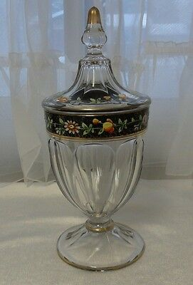 Vintage WIDE PANEL GLASS Covered CANDY JAR / Dish BLACK & Gold Band HANDPAINTED